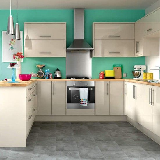 Costa Rica kitchen from Wickes             	  	This simple, contemporary kitchen from Wickes looks sleek and modern when teamed with a brightly painted wall. Add in a few bold accessories in contrasting colours and you've got a modern look that can easily be updated with a fresh coat of paint.Costa Rica kitchen
