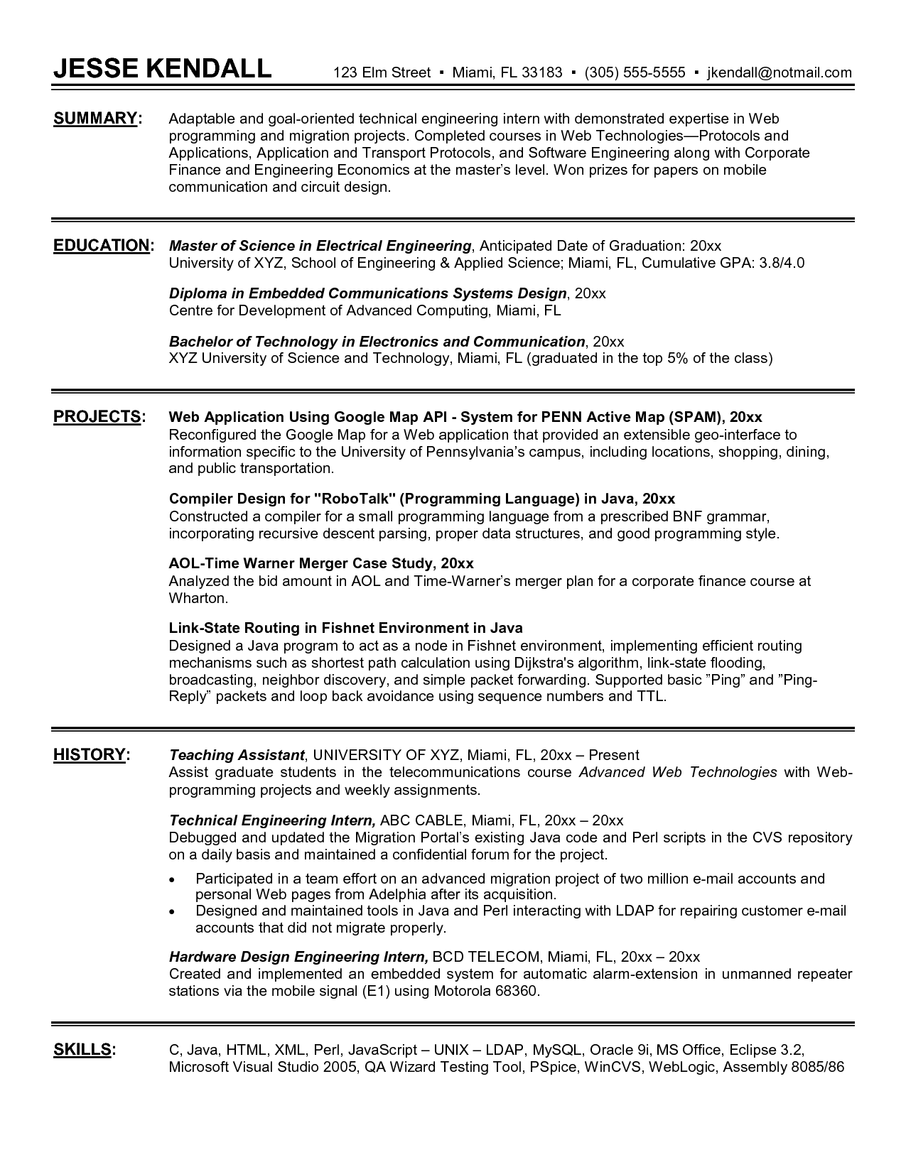 Objective In Resume For Internship In Computer Engineering