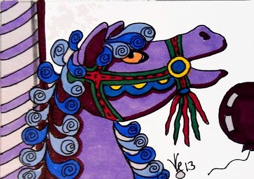 ACEO CAROUSEL WINTER HORSE ON EBAY