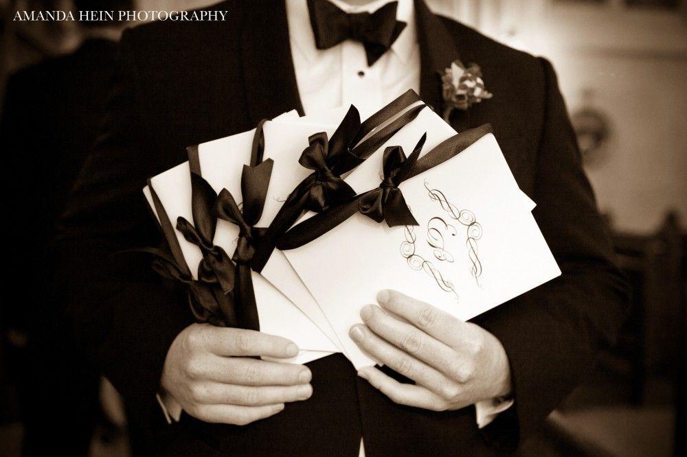 Classic, navy wedding program by Courtney Callahan Paper {Photo via Amanda Hein Photography 