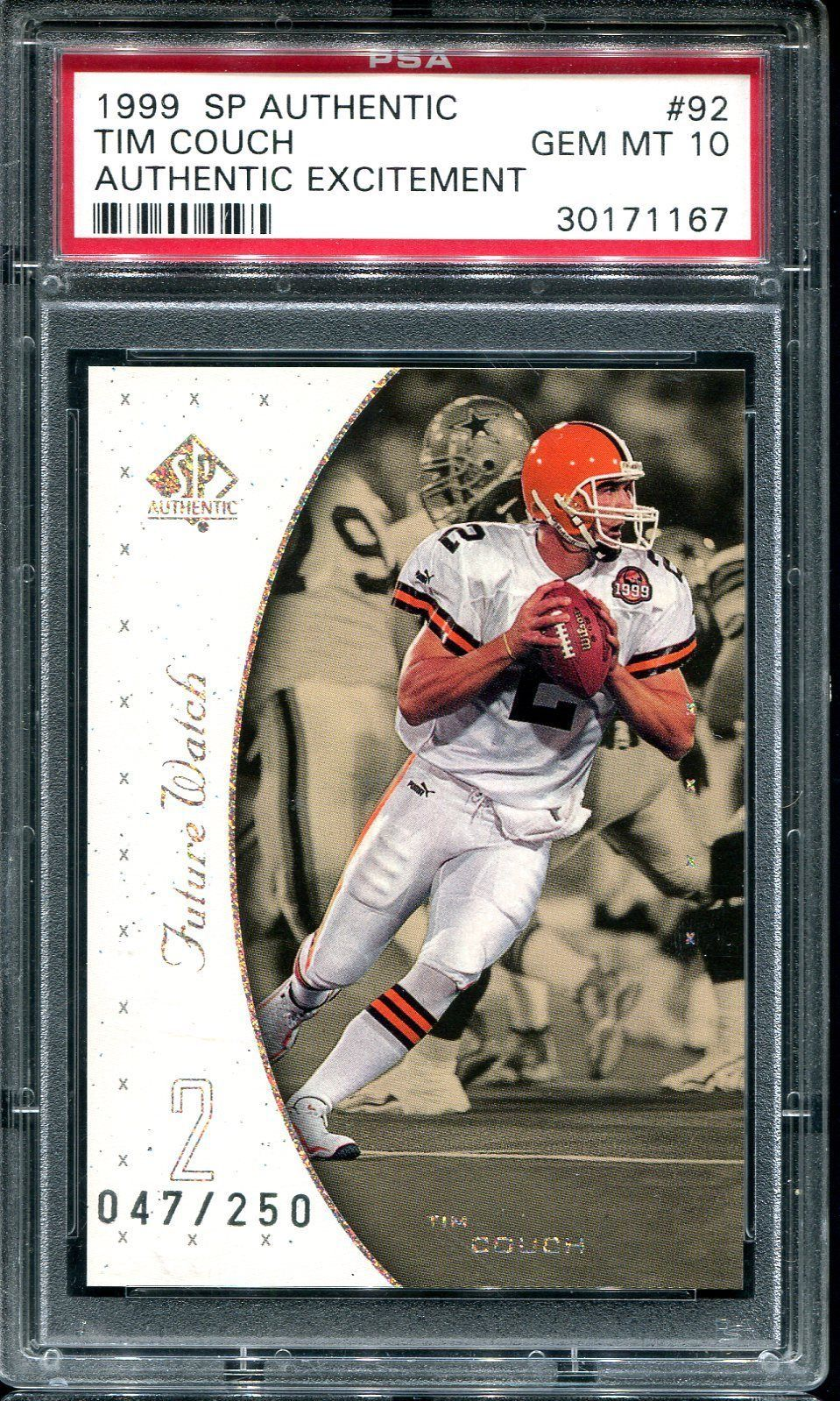TIM COUCH 1999 SP AUTHENTIC EXCITEMENT 92 ROOKIE CARD RC
