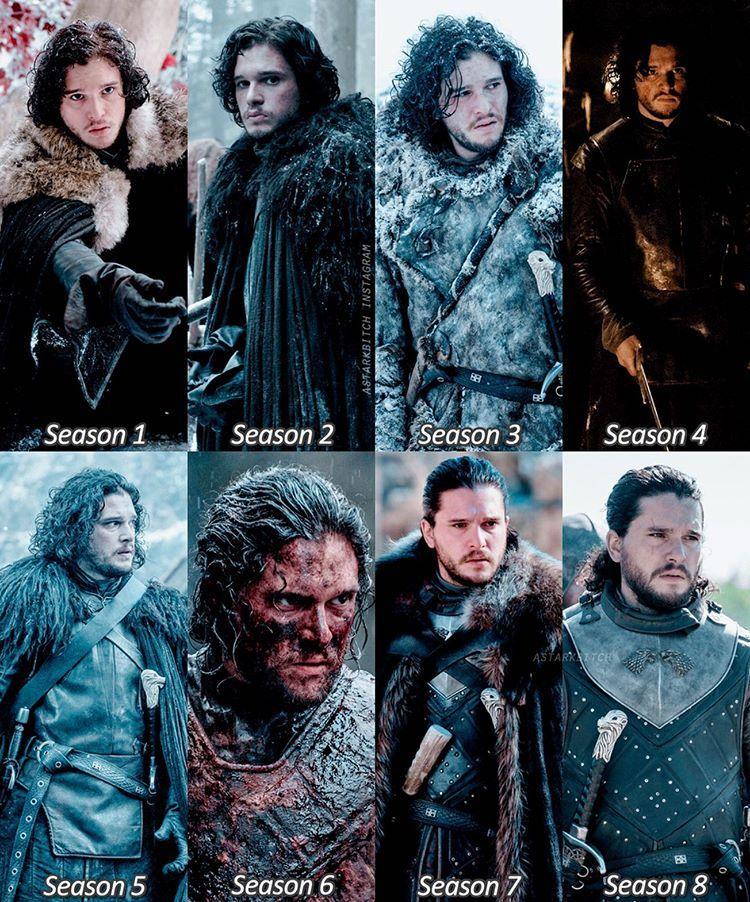 Jon Snow Throughout The Seasons Season 8 Game Of Thrones Game Of Throne Actors Jon Snow Throne