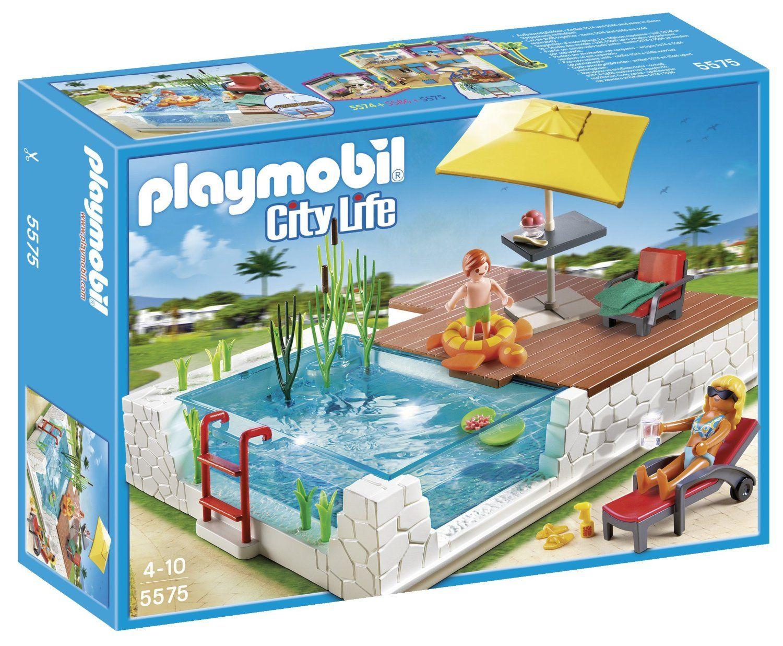 playmobil 5575 jeu de construction piscine avec terrasse