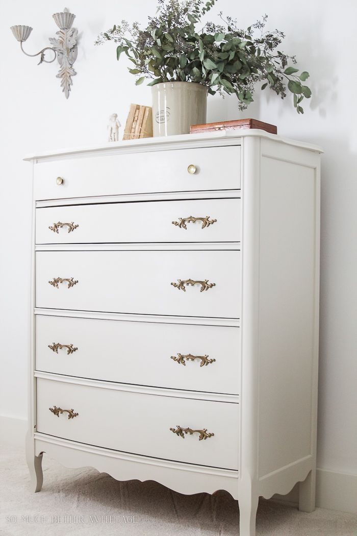Vintage Creamy White Dresser With Gold Handles 8 Steps On How To Finish Badly Damaged Furniture