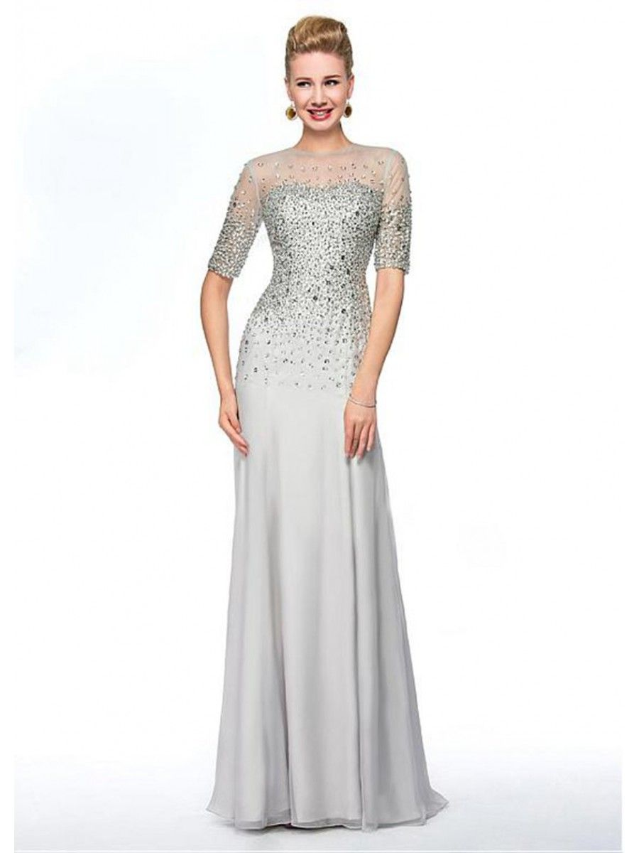 Casual mother of the groom dresses for outdoor wedding  Beaded Jewel Neckline Long Mother of The Bride Dresses