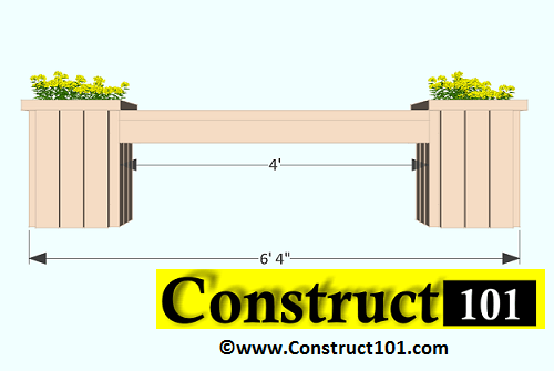 Planter Bench Plans Built With 2x4 S Free Pdf Construct101 Planter Bench Woodworking Plans Planter Bed