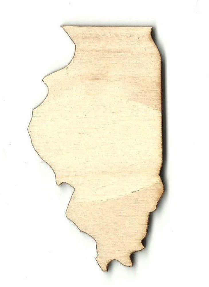 Illinois Unfinished Laser Cut Wood Shape