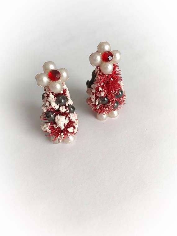 6e61d5676 Christmas Tree Earrings, Earring Tree, Red Rhinestone, Plastic Beads, Beaded  Ornaments,