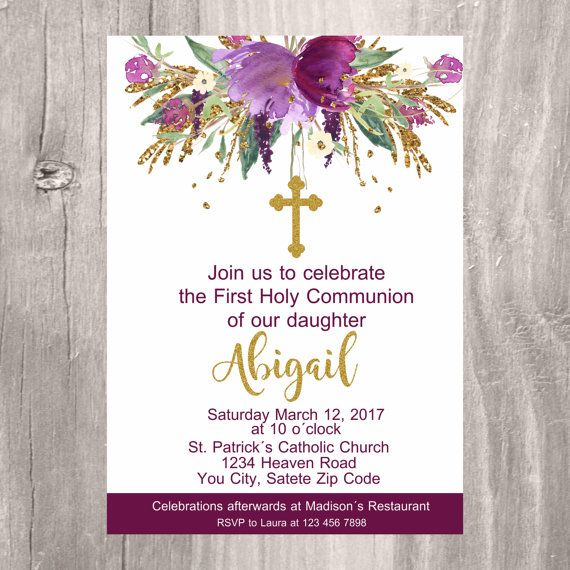 First Holy Communion Invite Printable Invitation First Communion