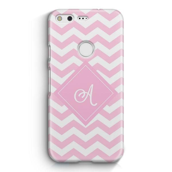 Monogrammed Pink Chevron Wallpaper Google Pixel XL Case #pinkchevronwallpaper