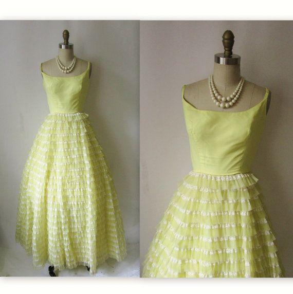 60's Lemon Chiffon Lace Southern Belle Party Prom Dress Gown XS, $72