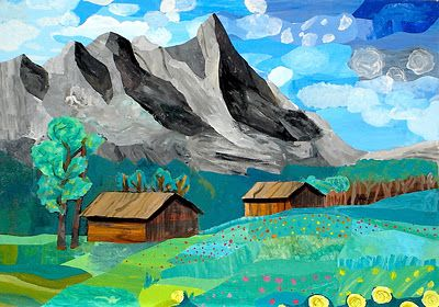 Landscape collage using painted papers students had to create 5