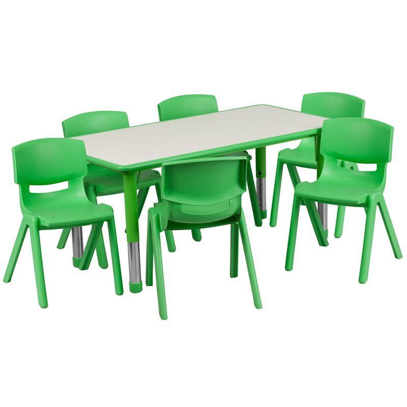 Flash Furniture 14.5 23.5 Inch Height Adjustable Plastic Preschool Table Set