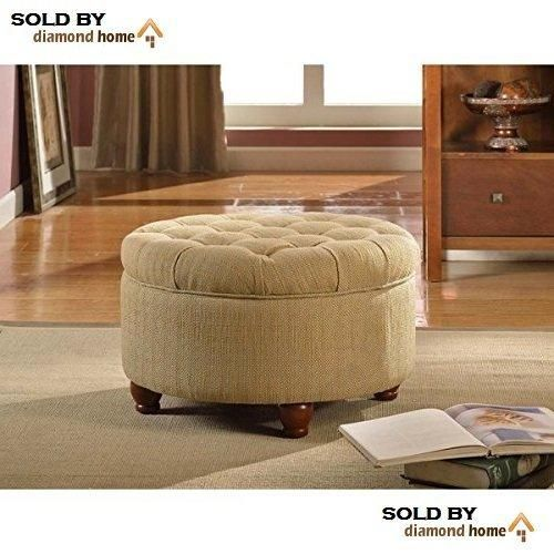 Round Ottoman Tan Cream Large Tufted Round Ottoman Features Textured