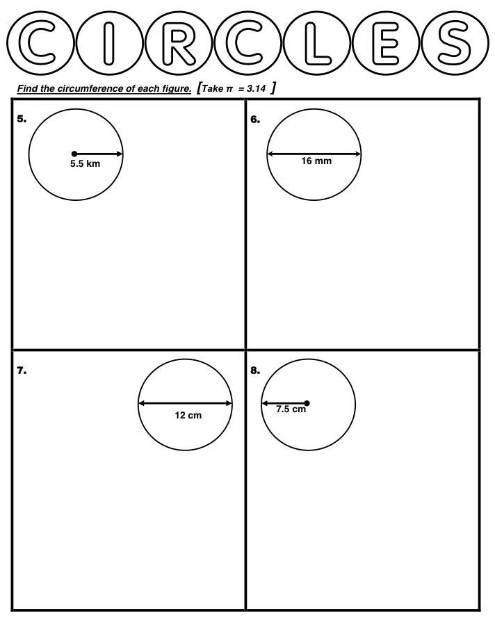 Printables Circumference Worksheet worksheet about calculating circumference of circles using pi as 3 14 227 or in