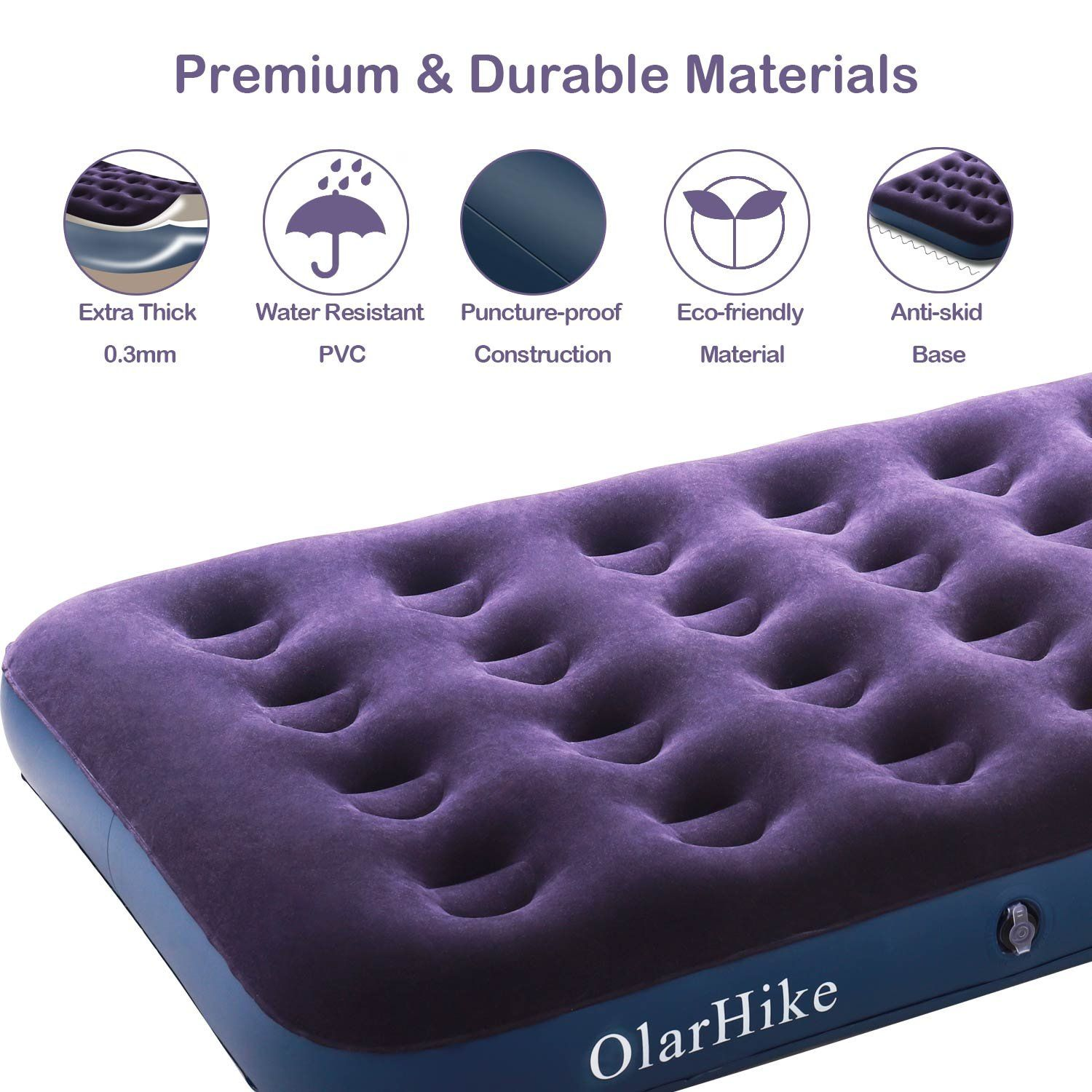 Olarhike Twin Air Mattress With Electric Pump Portable Air Bed Blow Up Mattress For Camping Car Repair Patches Pillow In In 2020 Twin Air Mattress Patch Pillow Air Bed