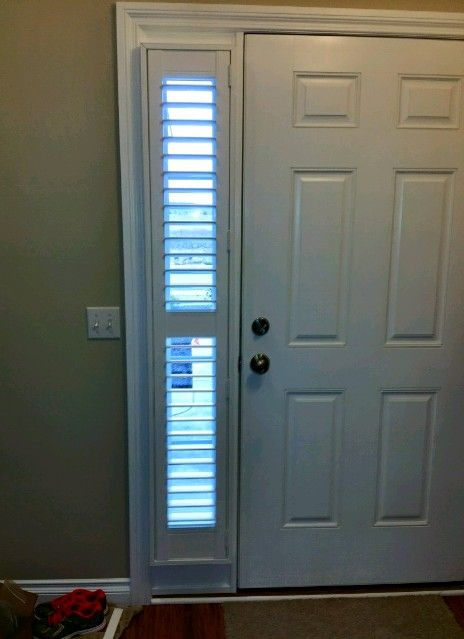 Sidelights with plantation shutters! Inside mount provides a cleaner, more finished look than blinds.