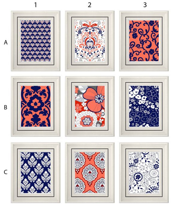 set of three modern coral navy wall art any 3 8x11 print set