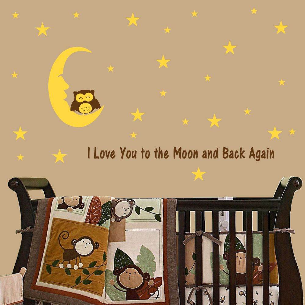 I love You to the Moon and Back, Moon, Owl and 42 Stars Vinyl Wall ...