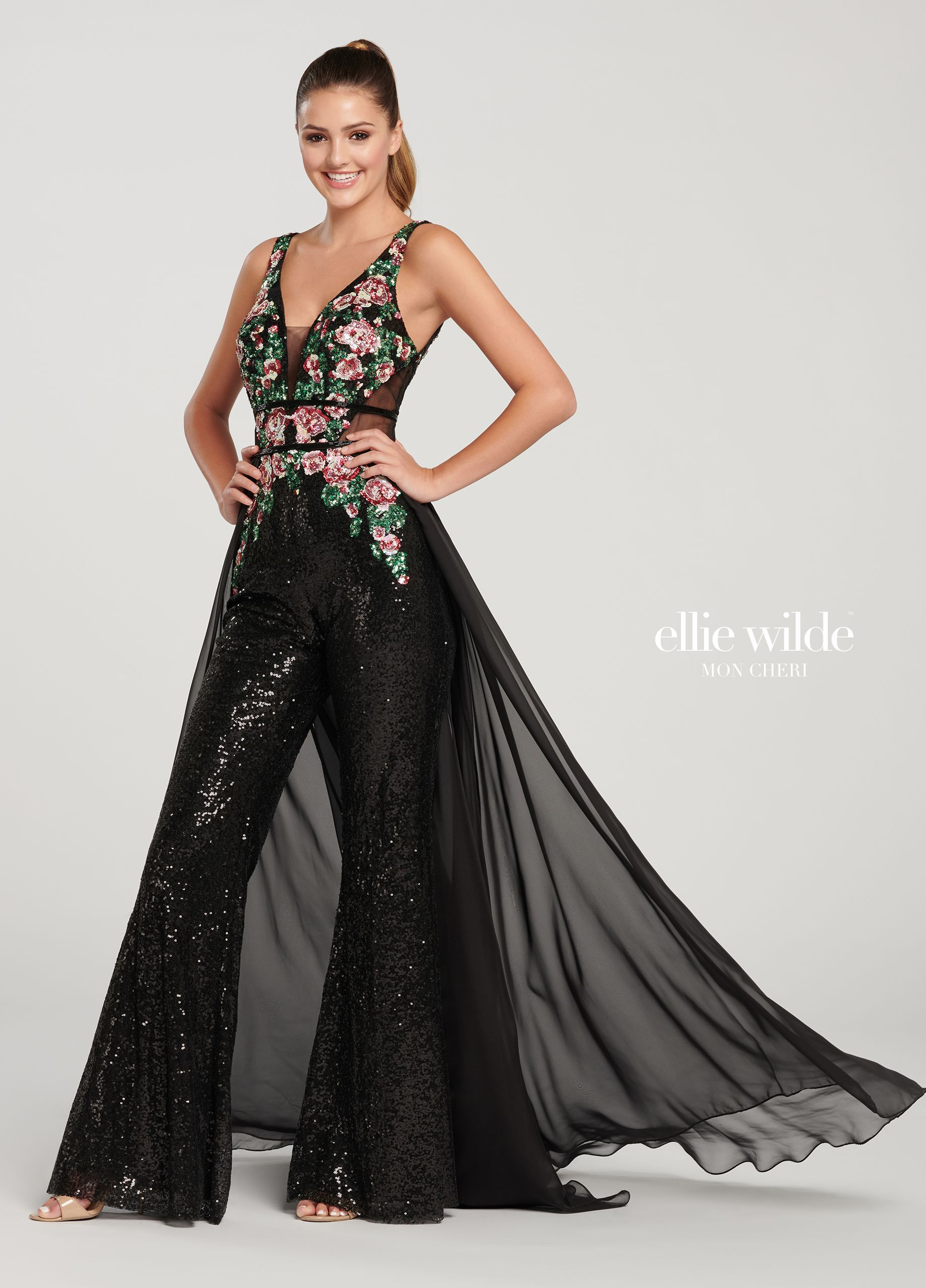 24df02194a48 Floral Sequin Prom Jumpsuit with Sequin Bell Bottom Pants- EW119085 ...