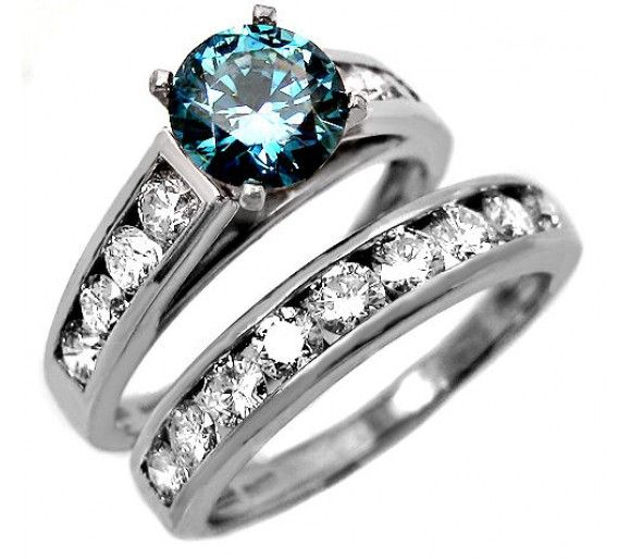 237ct blue diamond engagement ring set in platinum - Colored Wedding Rings