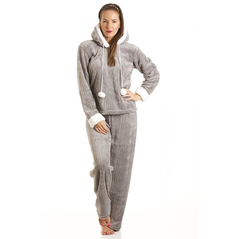 pyjama capuche en polaire ultra douce femme gris taille 38 48 46 48. Black Bedroom Furniture Sets. Home Design Ideas