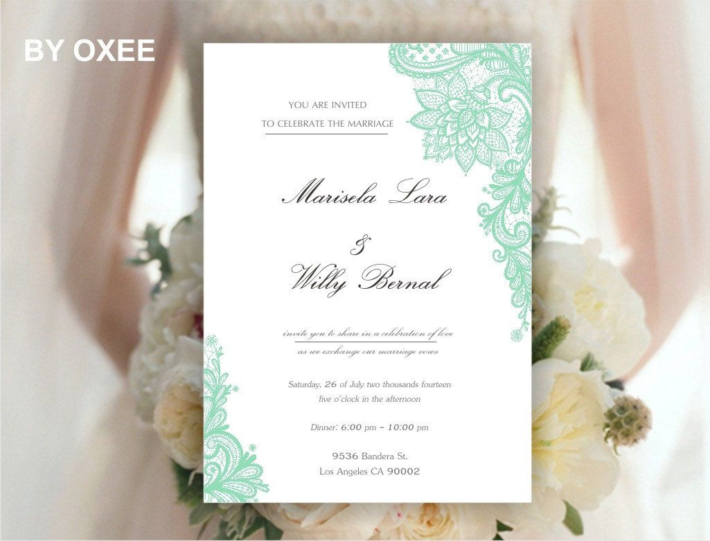 Printable Wedding invitation template Mint Green Vintage by Oxee