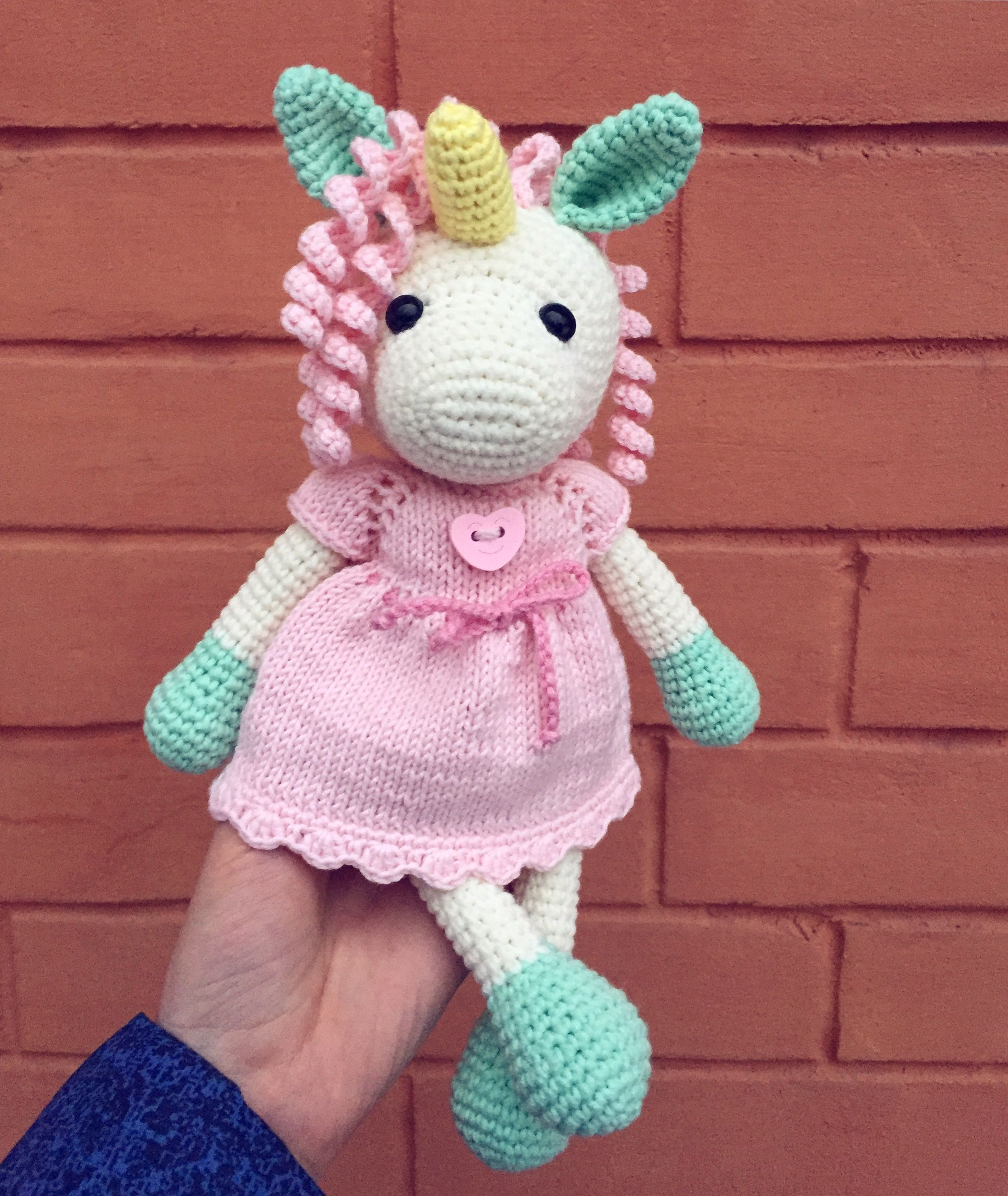Crochet unicorn amigurumi toy! Soft cotton animals, cute toy for ...