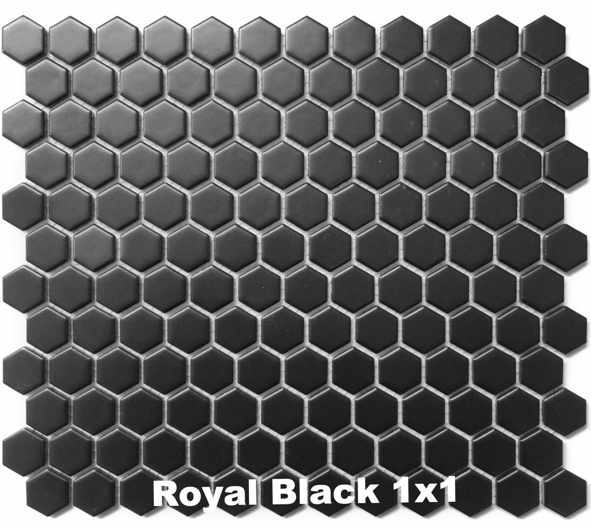 Royal Black 1x1 Matte Hexagon Mosaics Hexagonal Mosaic Porcelain Mosaic Porcelain Mosaic Tile