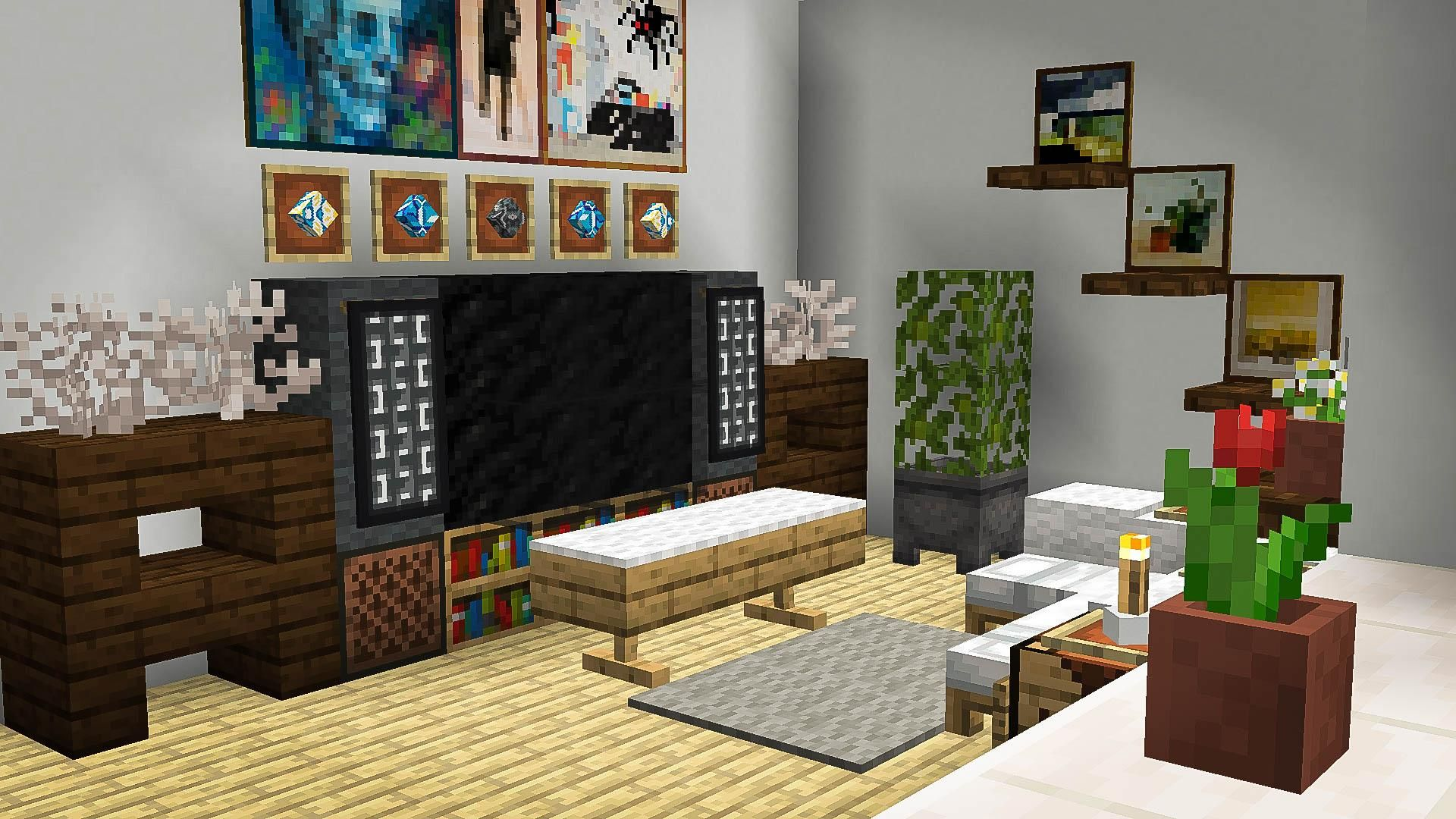 A Bright Living Room Minecraft Minecraft Room Decor Minecraft Interior Design Living Room In Minecraft