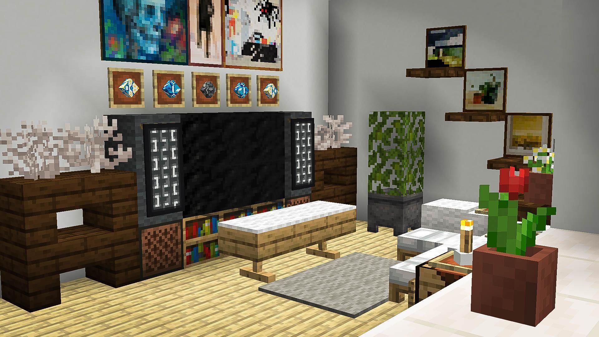 A Bright Living Room Minecraft Minecraft Room Decor Minecraft Room Minecraft Interior Design
