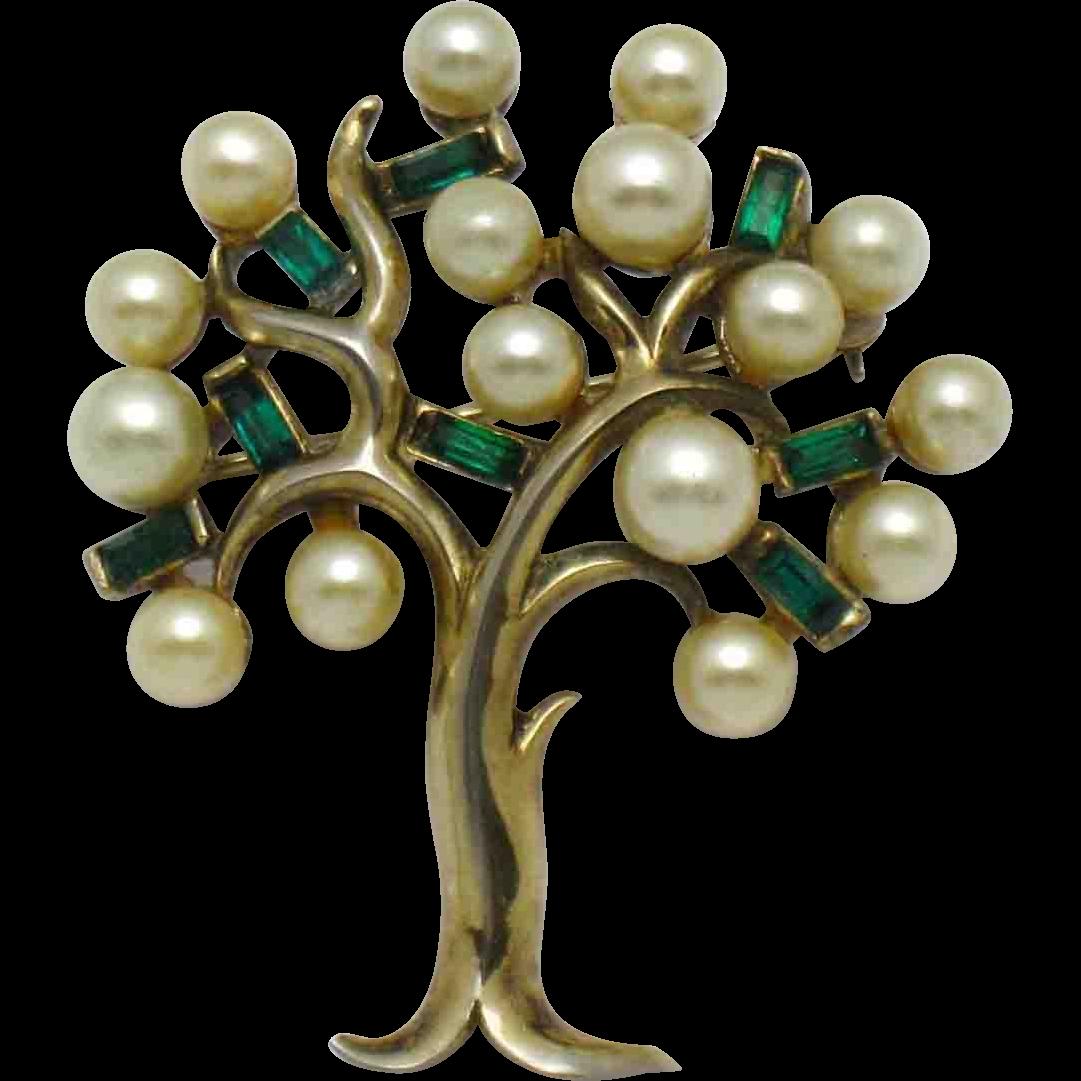 CROWN TRIFARI Pat Pend  Figural Tree of Life Pearl Rhinestone Brooch Pin