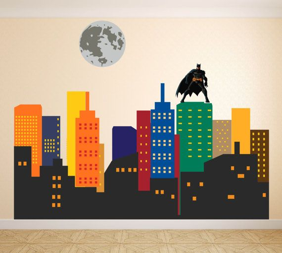 Superhero City Skyline Wall Decal Buildings Gotham City ...