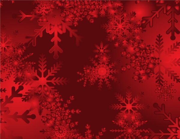 Abstract Christmas Snow On Red Background Vector Snowflake
