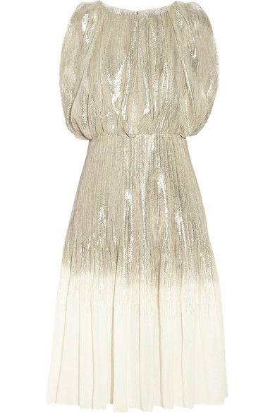 OSCAR DE LA RENTA Dégradé silk-blend lamé dress
