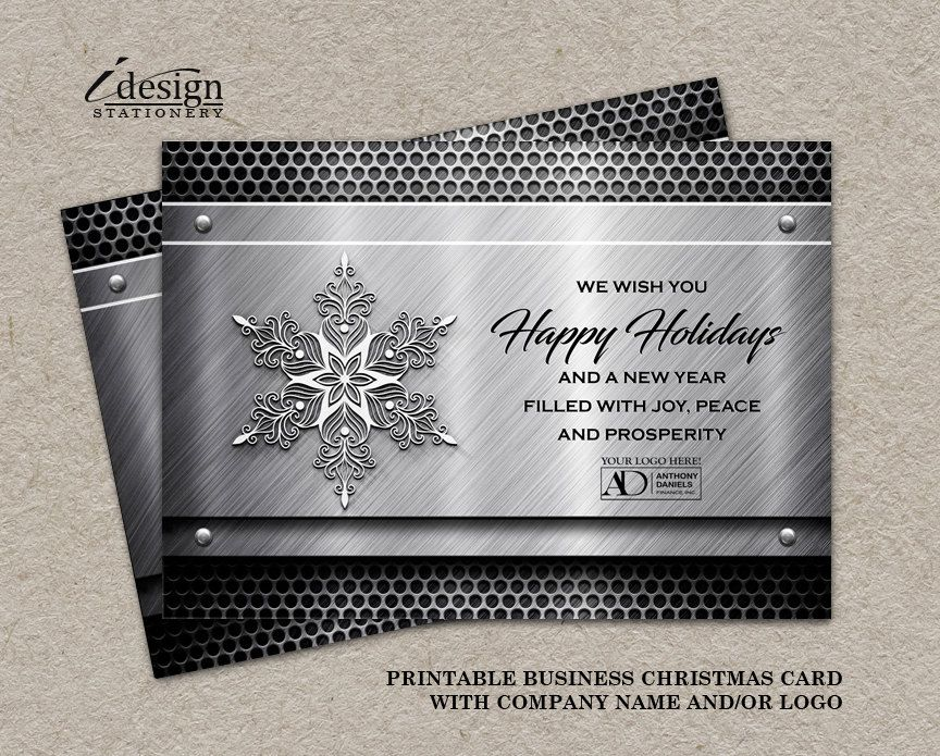 Metal Business Holiday Cards With Logo | Printable Construction ...