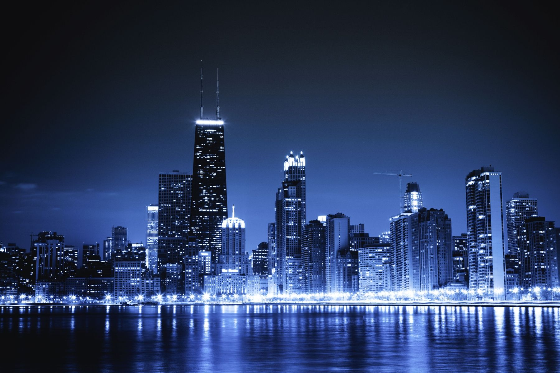 Chicago By Night Wallpaper City Lights At Night Chicago Skyline Skyline
