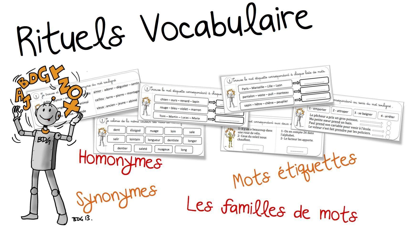 Rituels vocabulaire : synonyme, homonyme , famille et mot-étiquettes | Bout de Gomme ...