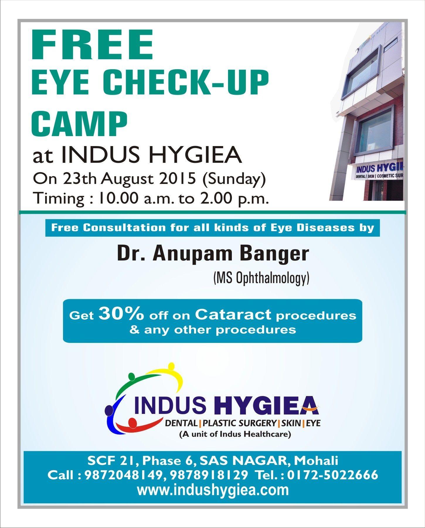 7b2bd133e55 Indus Hygiea organizes Free Eye Check-up Camp tomorrow at 10 am to 2 ...
