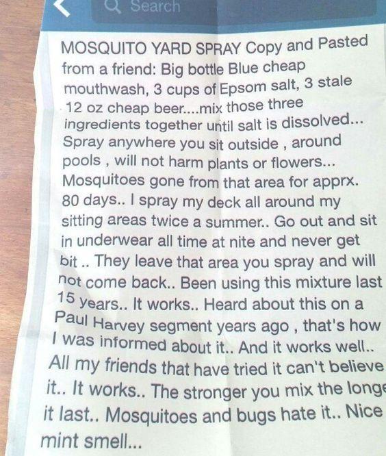 50 Backyard Hacks Mosquito Yard Spray Mosquito Spray Diy Bug Spray