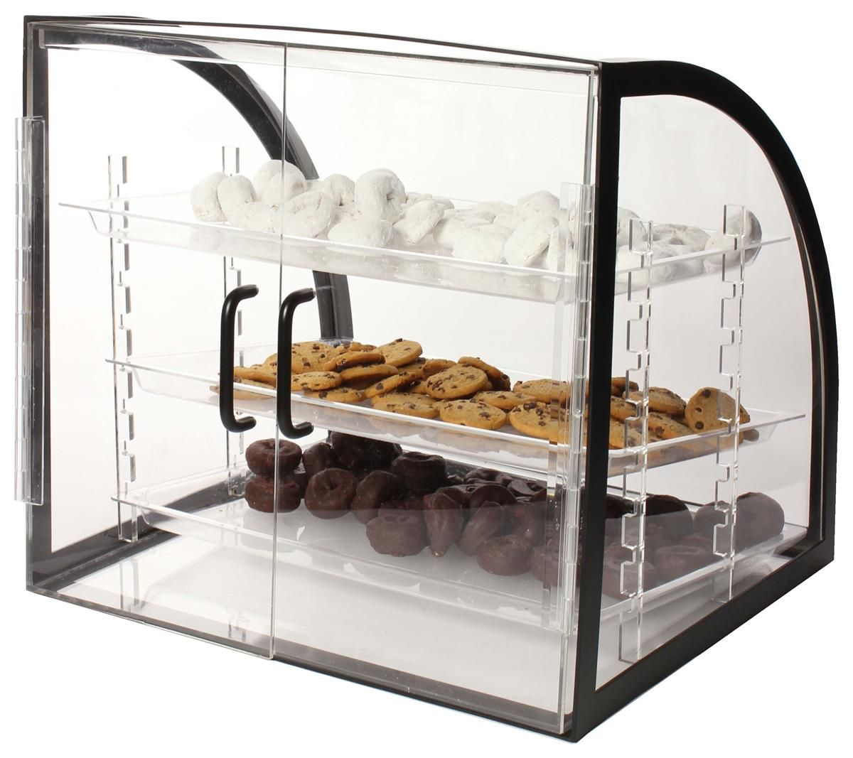 Bakery Display Cabinet Acrylic Food Display Case W 3 Plastic Trays Black Frame In