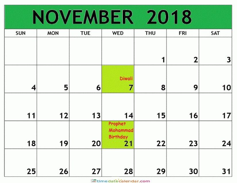 November 2018 Calendar Malaysia November Calendar Calendar