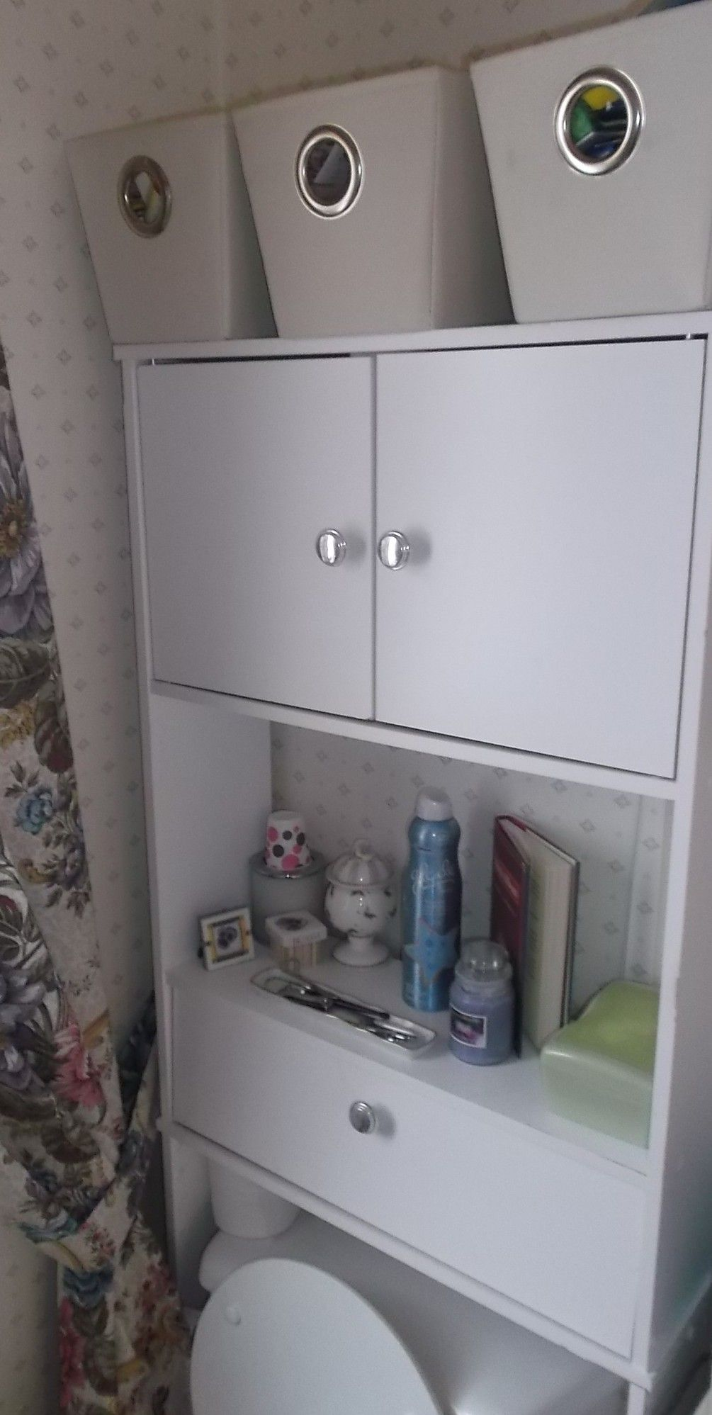 In a tiny bathroom without space/storage; use a