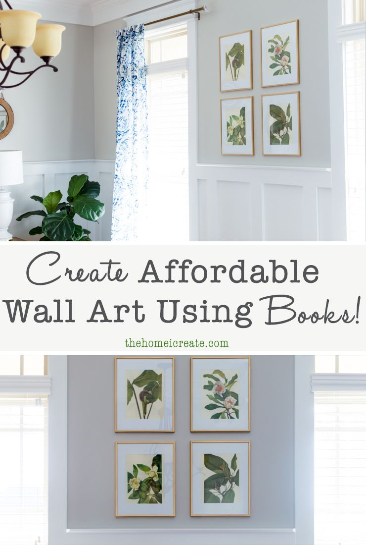 Create Affordable Wall Art Using Botanical Illustrations From A Book,  Inexpensive Frames And Gold Spray