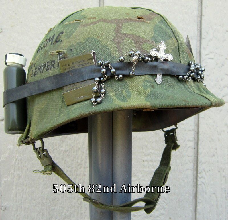 Vietnam M1 USMC Helmet & Liner. Camo Cover Band Rosary