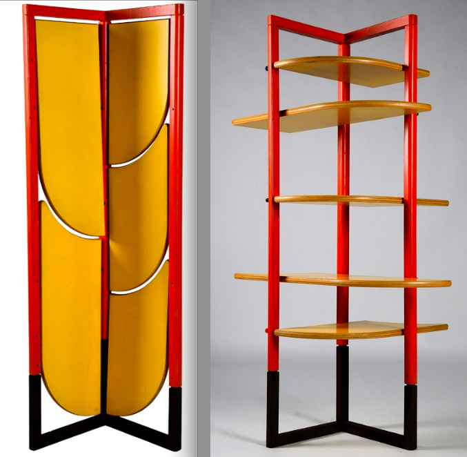 room divider with tiltable shelves by Gaetano Pesce