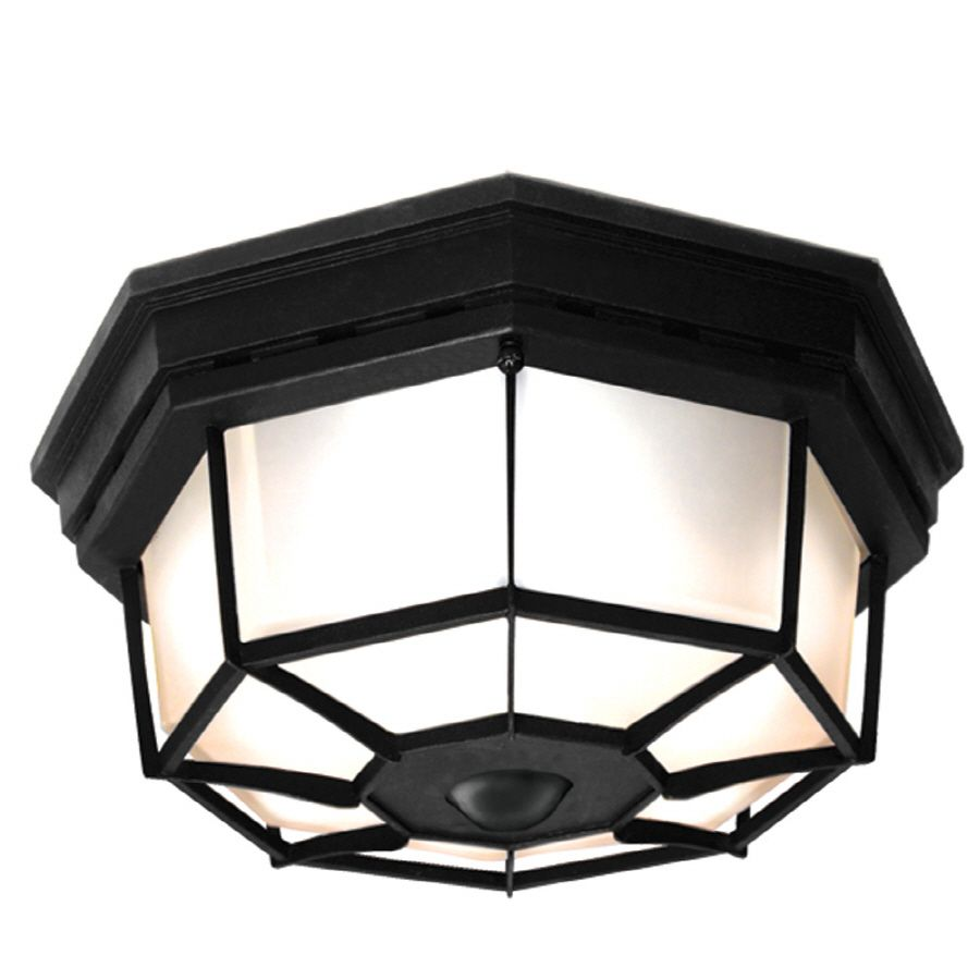 Secure Home 11.9 In W Black Motion Activated Outdoor Flush Mount Light