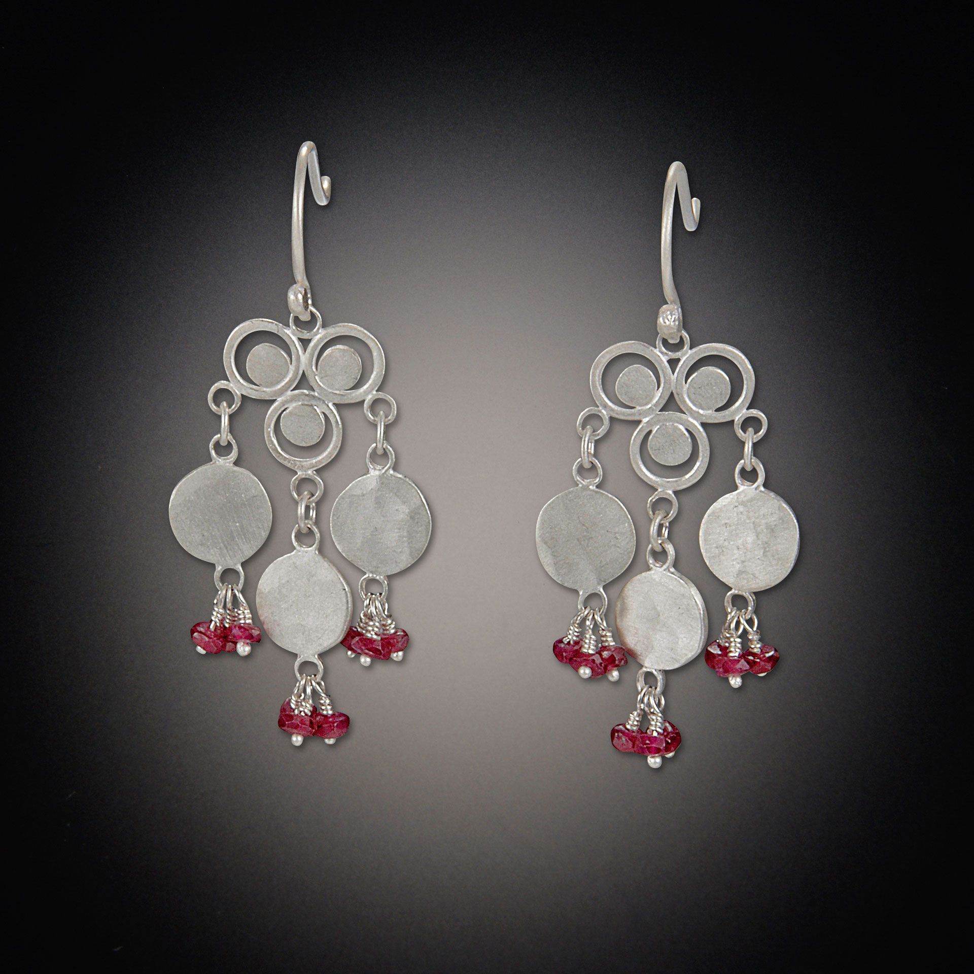 Filigree Trio Earrings with Medium Disk and Ruby Clusters | Ananda Khalsa Jewelry