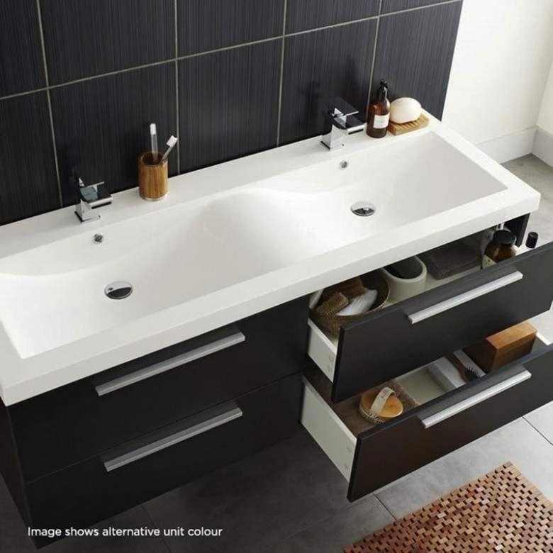 Hudson Reed Quartet 1440mm Wall Mounted Double Basin Vanity Unit Grey Gloss Hudson Reed Wm Basin Vanity Unit Double Basin Vanity Unit Bathroom Vanity Units