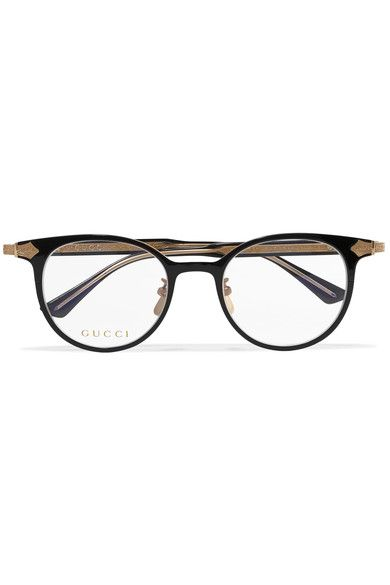 4c601fd8c35 Gucci - Round-frame Acetate And Gold-tone Optical Glasses - Black ...